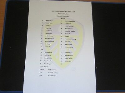 2018/19 U23 LEEDS UNITED v QUEENS PARK RANGERS TEAM SHEET