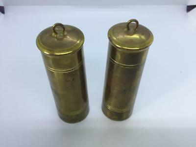 2 x ORIGINAL VINTAGE BRASS LEAD FILLED CYLINDER CLOCK WEIGHTS 1328kg & 1330g