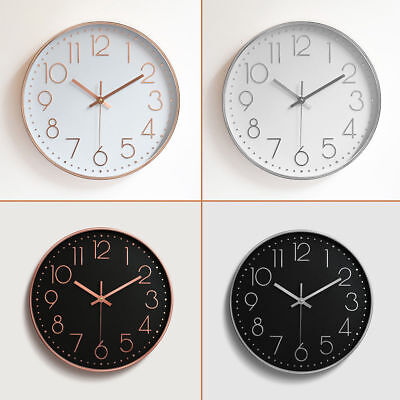 12'' Wall Clock Hanging Contemporary Styling Classic Rose Gold Black Home Decor