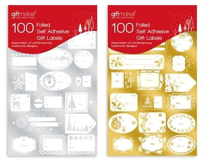 100 Gold & Silver Foiled Self Adhesive Christmas Gift Labels Name Tags GT218