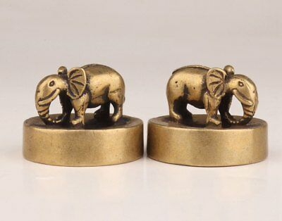 2  Brass Solid Casting Lifelike Elephant Statue Buddhist Exorcism Stamp Old