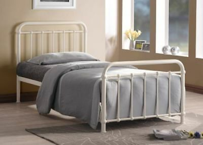 NEW 3ft Single Metal Bed Frame Ivory Metal Hospital Style