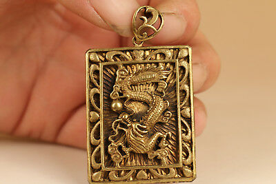Cool Rare Chinese Old brass Hand Carved dragon Statue Pendant netsuke