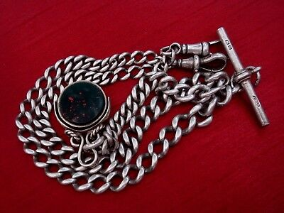 Solid Sterling Silver English Hallmarked Double Albert Chain With Spinner Fob