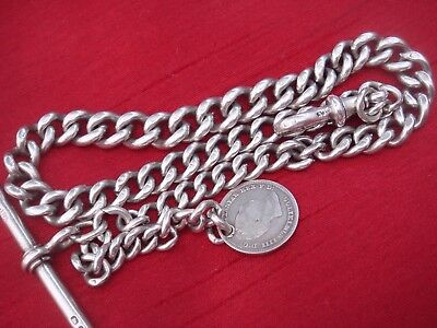 Solid Sterling Silver English Hallmarked Albert Chain With Silver 1837 Coin Fob