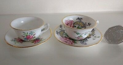 Antique Pair of Crown Staffordshire Miniature / Small CUPS & SAUCERS