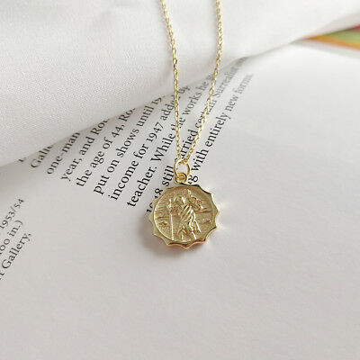new fashion 925 Sterling Silver coin round Jewelry Pendant gold Chain Necklace