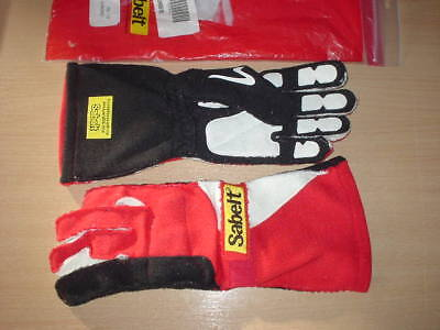 sabelt race rally chrono reverse stitch FIA driving gloves size 12 red