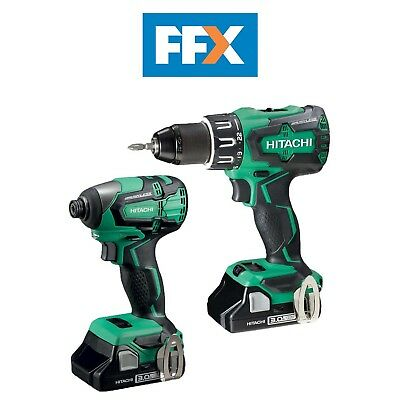 Hitachi KC18DBFL2/JC 18v 2x3.0Ah Li-ion Brushless Drill and Impact Driver Twin K