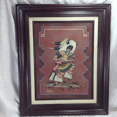 Lorenzo Stewart Sand Painting Original Framed Navajo Native American Art Signed