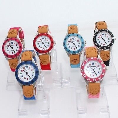 6pcs Wholesale Fashion Fabric Strap Kids Boy Girl Learn Time Quartz Watch U32M