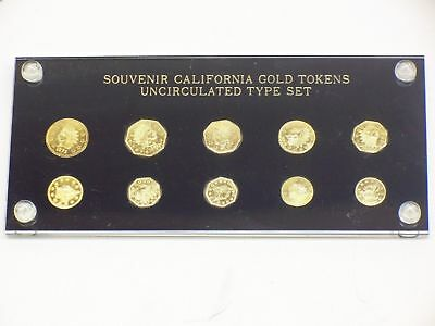 Souvenir California Gold Tokens Uncirculated 10 Piece Type Set IN SPECIAL HOLDER