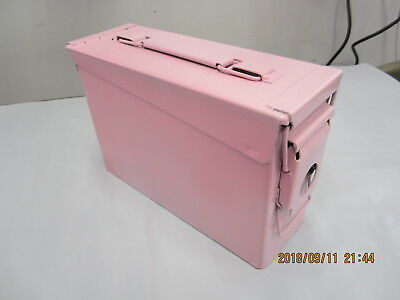 Military 7.62 MM Ammo Can .30 Cal, 200 Cartridges, M13 Excellent Pink Painted