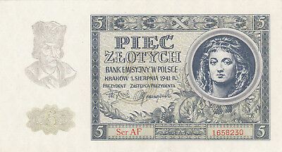 5 Zlotych Aunc Banknote From German Occupied Poland 1941!!pick-101