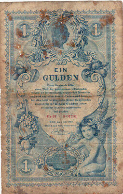 1 Gulden Vg-Poor Banknote From Austria 1888!!