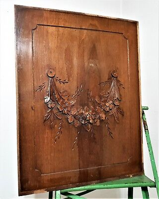 Country farmhouse cottage panel Antique french carved wood Architectural Salvage