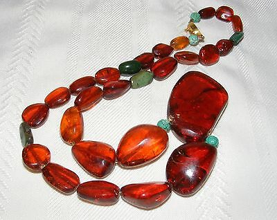 Vintage Chinese Honey Amber Necklace with Carved Turquoise Shou Beads 39.5 grams