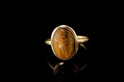 Vintage Carved Tiger Eye 10K Gold Scarab Ring Size 10  A84164