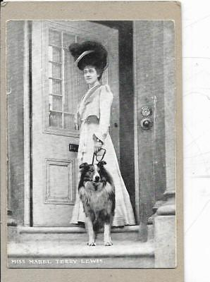 Miss Mabel Terry Lewis And Her Collie On A Leash - Old Postcard