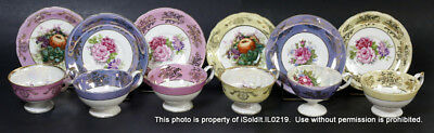 12-PC IRIDESCENT Footed CUP & SAUCER SET COLLECTION Royal Halsey Floral & Fruit