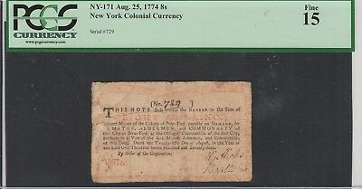 8 Shillings New York Colonial 1774 Pcgs 15 Ny-171
