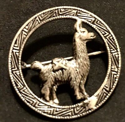 "Vintage Sterling Silver Llama Alpaca Brooch Antique Pin .925 Jewelry Stamped ""K"""