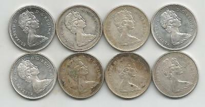 Ncoffin Canada Queen Elizabeth Ii Eight 1968 .500 Silver 25 Cent Coins