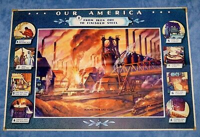 "Vintage Coca Cola "" Our America: Steel "" Educational Poster  # 1 ~ 1942"