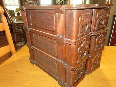Antique Oak Singer Treadle Sewing Cabinet 6 Drawers Carved Wood Fretwork & Frame