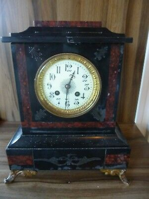 Antique French Black Slate & Red Marble Clock