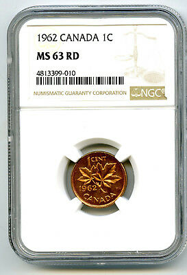 1962 Canada Cent Ngc Ms63 Rd Boomerang Hanging 2 Die Clash Variety Mint Error