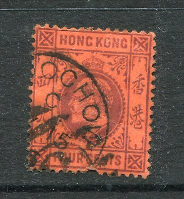 Old China Hong Kong KEVII 4c stamp Used with Philippine Ship Mark + Foochow Pmk