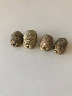 Egyptian Carved Scarab Bead w/ Hieroglyphics Collection Lot of 4 Beads #1