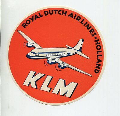 KLM ROYAL DUTCH AIRLINES TRANSATLANTIC FLYING DUTCHMAN AVIATION LUGGAGE LABEL SM