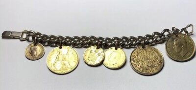 "Vintage 1924-1947 Great Britain Six Is-Coin Charm Bracelet 7"" (Two Silver Coin)"