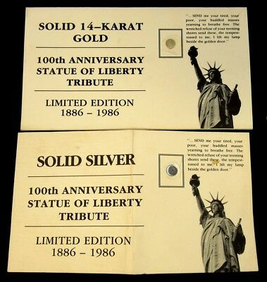 1986 Silver & 14k Gold Statue of Liberty Mini Coins - 100th Anniversary