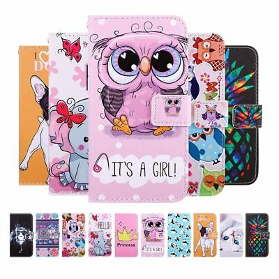 New Painted Flip PU Leather Case Cover Stand For iPhone Huawei P10 P20 Lite TU