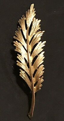 Vintage Brushed Gold Brooch Leaf Pin Estate Crown Trifari Textured Feather NICE