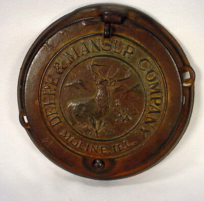 "John Deere and Mansur Planter Cover 8"" Cast Iron Wall Hanging Conversion @1895"