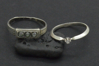 Antiquarian Silver Rings with rock-crystal gemstones. 20 Century