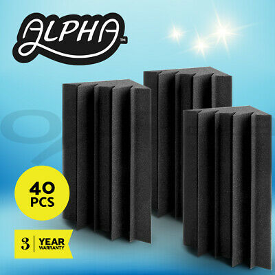 40pcs Studio Acoustic Foam Corner Bass Trap Sound Absorption Treatment Proofing