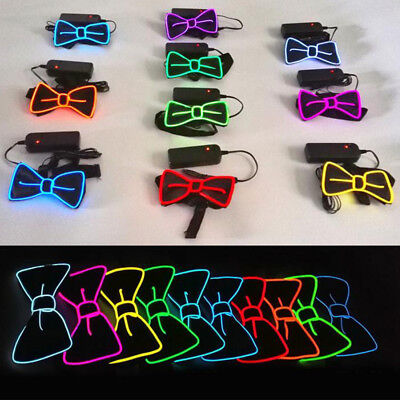 Luminous LED EL Wire Necktie Neon Flashing Light Up Tie For Club Cosplay Party