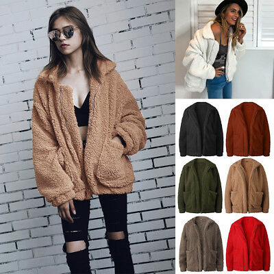 Fashion Women's Winter Warm Fluffy Coat Pocket Fleece Zipper Jackets Outerwear