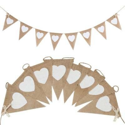 Vintage Hessian and Lace Bunting Love Heart Flags Banner Burlap Wedding Party