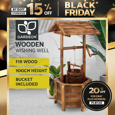 Gardeon Outdoor Garden Wishing Well Planter Flower Bucket Wooden