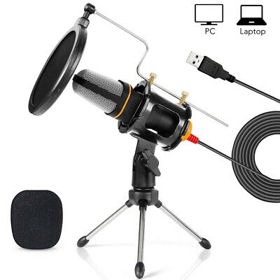 Condenser USB Microphone w/ Tripod Stand for Game Chat Studio Recording Computer