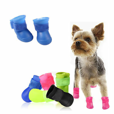 4pcs Waterproof Pet Rain Shoes Boots Small Puppy Dog Anti-slip Rubber Booties