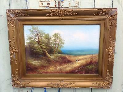 Stunning Antique Victorian Signed Oil Painting & Ornate Gold Frame Rustic Chic