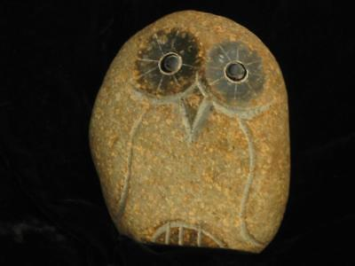 Unique hand crafted OWL -rough and polished granite