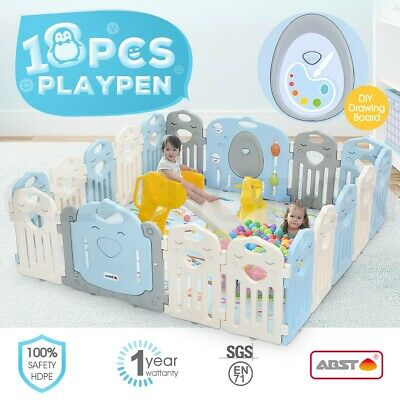 ABST 18 Panel Baby Playpen Interactive Kid Safety Gates W/Lock Door & Game Board